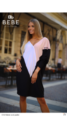 Trikolor ruha fekete-ecrü-púder