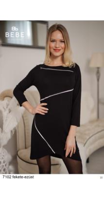 7102 Szilárda ruha fekete-ezüst