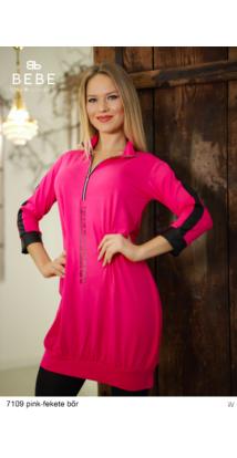 ruha 7109 Merilin pink-fekete bőr