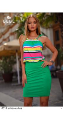 6018 Bella ruha színes csíkos