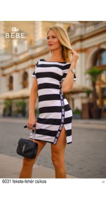 6031 Tina ruha fekete-fehér csíkos