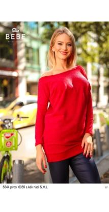 5844 Szabina kötött ruha piros