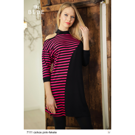 ruha 7111 Rebeka csíkos pink-fekete