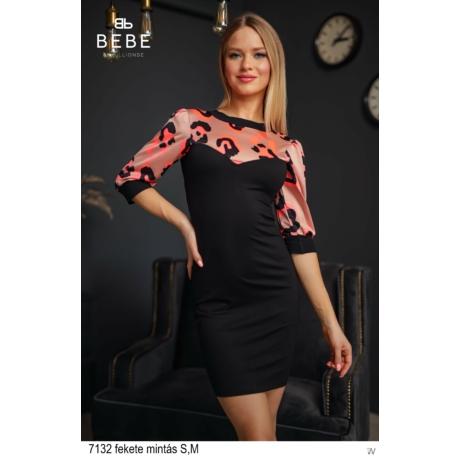 7132 Tekla ruha fekete mintás