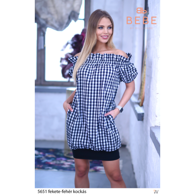 ruha 5651 fekete-fehér kockás