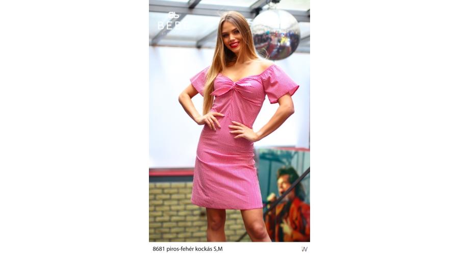 0c7c54656d ruha 8681 piros kockás - Ruha webáruház, női ruházat - Likefashion