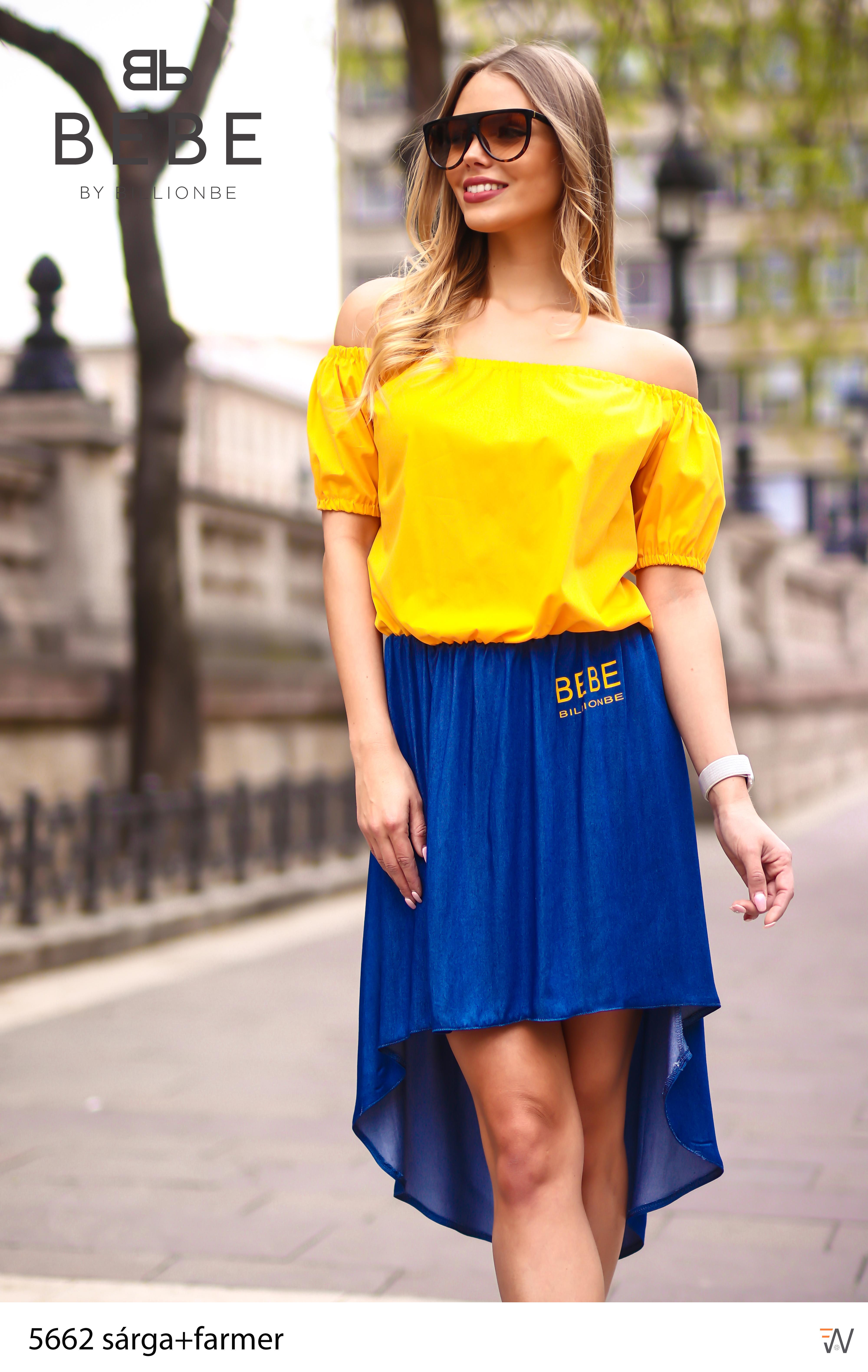 d2b2203f4f ruha 5662 sárga+farmer - Ruha webáruház, női ruházat - Likefashion